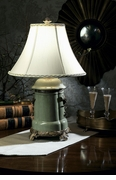 Dessau Home Celadon Porcelain Lamp with Brass Accents