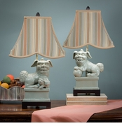 Dessau Home Celadon Foo Dog Lamps with Striped Shade