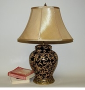 Dessau Home Black & Gold Porcelain Lamp with Brass Accent