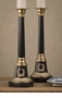 Dessau Home Antique Brass & Black Candlestick with Medallion