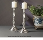 "Dessau Home Antique Silver Pillar 10"" Candleholder"