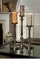 Dessau Home Nickel Finish Pillar Candleholder Large