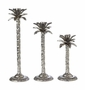 Andrea by Sadek Set of 3 Nickel Palm Candlesticks