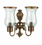 Andrea by Sadek Pair 2 Light Antique Brass Hurricane Sconces