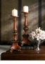 Dessau Home Birch Finish Porcelain Tri-Pod Pillar Candleholder