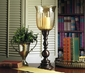 Dessau Home Bronze Hurricane with Amber Fluted Glass