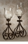 Dessau Home Bronze Iron Acanthus Leaf Hurricane with Hammered Globe