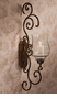 Dessau Home Bronze Iron Scroll Wall Sconce With Hammered Glass