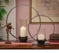 "Dessau Home Pewter Iron Circle Hurricane Candleholder 14.5"" H"