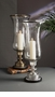Dessau Home Antique Brass Embossed Hurricane with Lined Glass & Rim