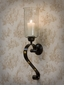 Dessau Home Bronze Iron Button Sconce with Rain Glass & Brass Accents