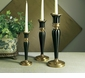 Dessau Home Antique Brass & Black Fluted Candleholder - Medium