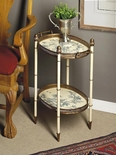 Dessau Home Blue & White Iron 2 Tier Table