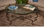 Dessau Home Coffee Table Bronze Iron Acanthus Leaf with Beveled Glass