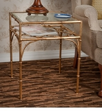 Dessau Home Antique Gold Iron Bamboo Table with Beveled Glass