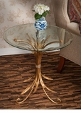 Dessau Home Antique Gold Iron Wheat Table with Beveled Glass Top