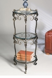 Dessau Home 3 Tier Bronze Iron Acanthus Leaf Table with Beveled Glass