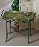 Dessau Home Blue Green Wood Tray & Stand