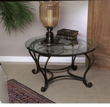 Dessau Home Florence Coffee Table with Brass Medallions & Beveled Glass