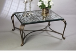 Dessau Home Acanthus Leaf Table - Bronze With Antique Brass Medallions And Beveled Glass