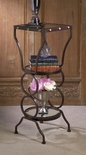 Dessau Home Button Hammered 3-Tier Table with Tinted Glass Shelves