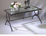 Dessau Home Button Hammered Coffee Table with Brass Accents And Trim