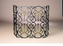 Dessau Home Fleur De Lis Firescreen Bronze Iron with Brass Medallion