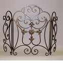 Dessau Home Bronze Iron Fleur De Lis Firescreen with Brass Med