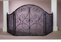 Dessau Home Pewter Scroll Firescreen with Mesh Screen