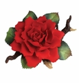 Andrea by Sadek Red Rose on Branch Porcelain Flower Figurine