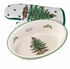 "Spode Christmas Tree 12.5"" Oval Rim Dish with Oven Mitt"