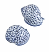 Andrea by Sadek Porcelain Blue Net Round Seashell Salt and Pepper Pair