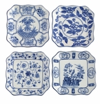 "Andrea by Sadek Asstorted 6.5"" Square Plates - Blue & White (4)"