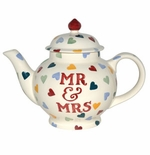 "Emma Bridgewater Polka Hearts 4-Cup Tea Pot ""Mr. and Mrs."""