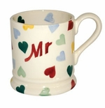 Emma Bridgewater Pottery Polka Hearts Celebration Mr Mug 1/2 Pint