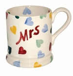 Emma Bridgewater Pottery Polka Hearts Celebration Mrs Mug 1/2 Pint