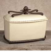 GG Collection Gracious Goods Cream Ceramic Bread Box with Metal Base