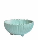 Vietri Incanto Aqua Stripe Footed Bowl