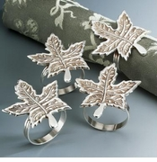 Set of Four Silver-Plated LEAF Shaped Napkin Rings
