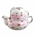 Andrea by Sadek Petit Rose Tea for One Stacking Teapot Set