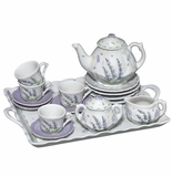 Andrea by Sadek Lavender Porcelain Child's Tea Set for Four