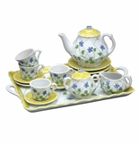 Andrea by Sadek Yellow Polka Dot 18 Piece Child's Tea Set