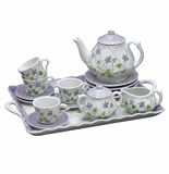 Andrea by Sadek Violet Polka Dot 18 Piece Child's Tea Set