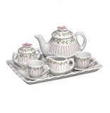 Andrea by Sadek Doll Tea Set - Pink Pinstripe