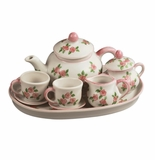 Andrea by Sadek Pink Rose 10 Piece Child's Tea Set