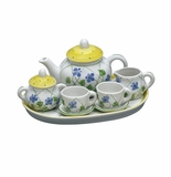 Andrea by Sadek Yellow Polka Dot Doll Size Tea Set