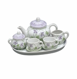 Andrea by Sadek Violet Polka Dot Doll Size Tea Set