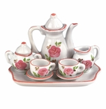 "Andrea by Sadek 3"" H Mini 9 Piece Doll Tea Set Pink Flowers"