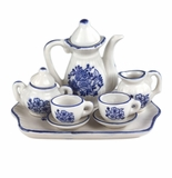 "Andrea by Sadek 3"" H Mini 9 Piece Doll Tea Set Blue & White"