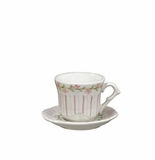 Andrea by Sadek Pink Pinstripe Child's Cup & Saucer Sets (4)